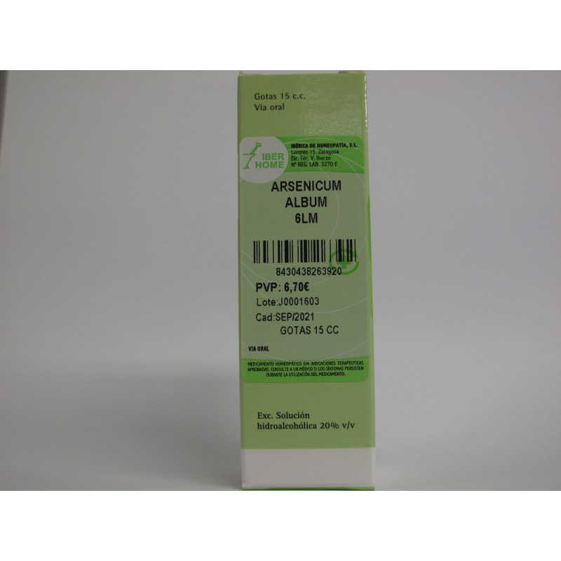 ARSENICUM ALBUM 6LM - GOTAS 15CC, and feels worse indoors and when rooms are warm, m, fever is a common systemic reaction, gastroenteritis, - Farmacia Martínez Salazar