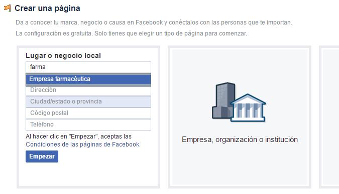 crear una pagina de facebook para una farmacia