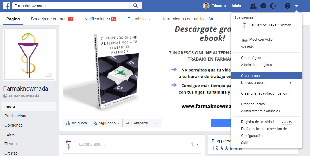 crear grupo de facebook para la farmacia