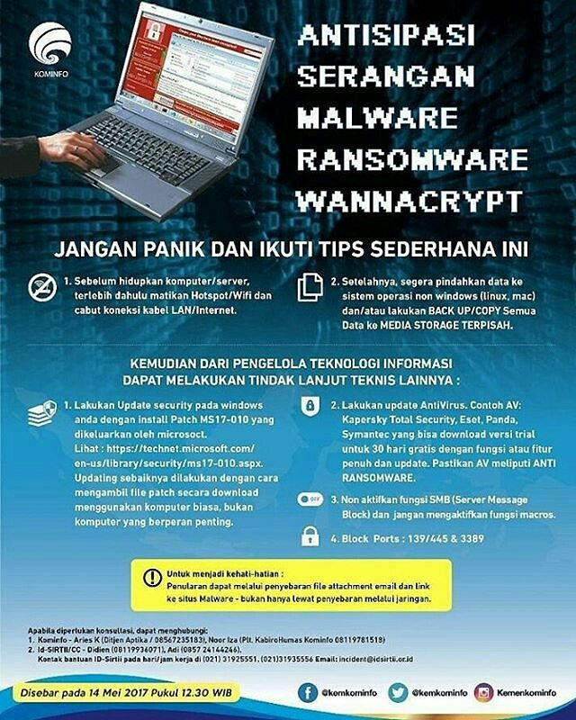 Tips Mencegah Ransomeware WannaCry