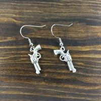 Silver Gun Earrings