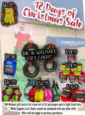The 12 Days of Christmas Sale is going on now at the Farmers Coop Station in Van Buren, Arkansas!