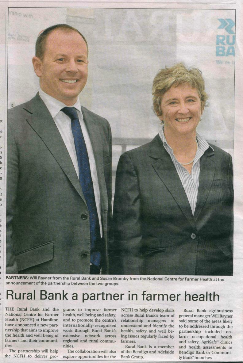'Rural Bank partner in farmer health' - Warrnambool Standard article 1st October 2015