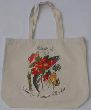 Flower prints on a canvas market bag