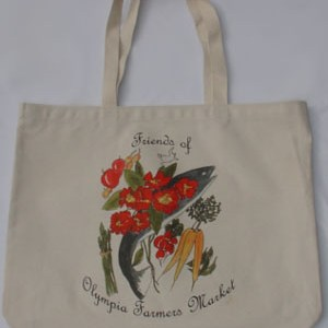 Flower prints on a canvas market bag