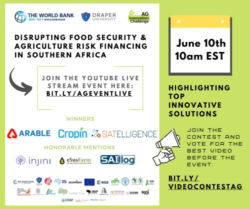 Southern Africa Innovation Highlights: The World Bank's Live Stream Event Showcasing Top Solutions In Agriculture & Food Security Risk Financing