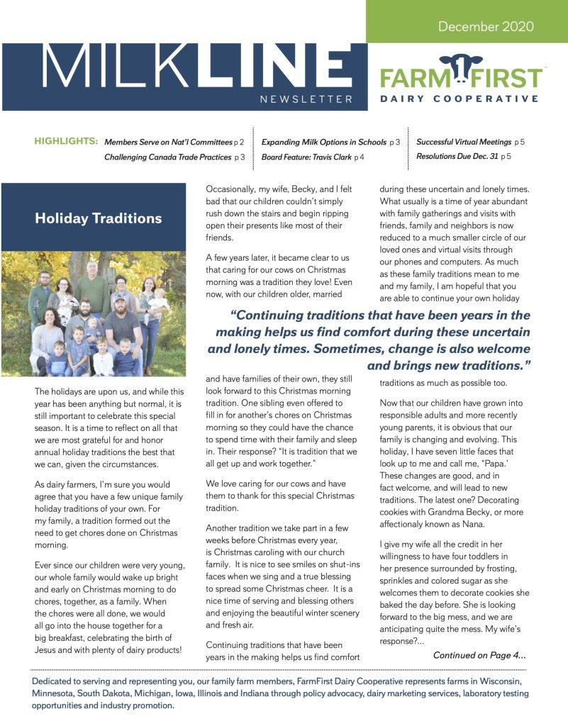 December 2020 MilkLine Newsletter
