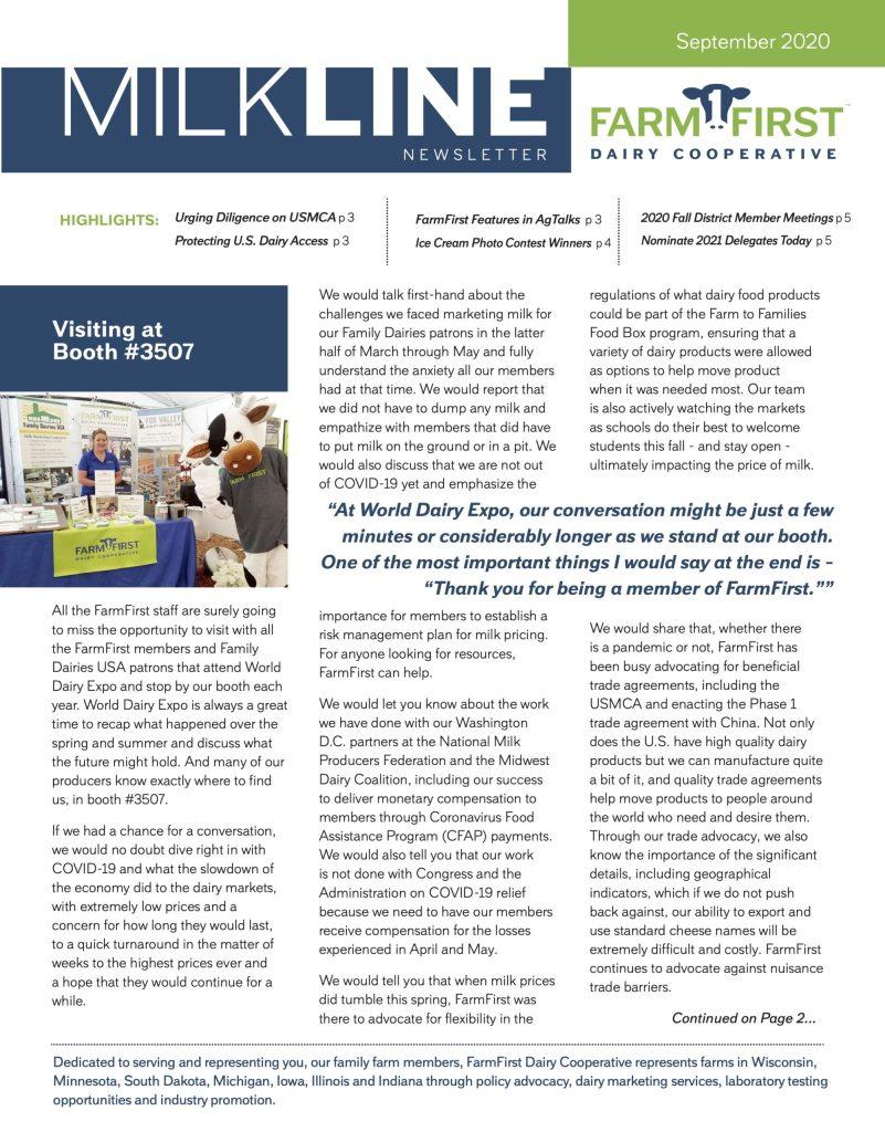 September 2020 MilkLine Newsletter