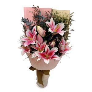 Bonaventura 10 pink lilies by farm florist singapore