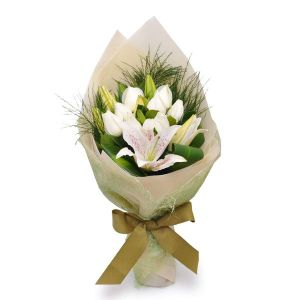 purest love 12 white roses 6 white lilies by farm florist singapore