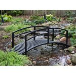Black-Metal-Danbury-Garden-Bridge-8-ft-Double-Arched-Rails-and-a-Classic-Slatted-Walking-Surface-93L-x-28W-x-29H-in-Assembly-is-Required-0