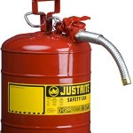Justrite-7250130-Galvanized-Steel-AccuFlow-Type-II-Red-Safety-Can-with-1-Flexible-Spout-Large-ID-zone-Meets-OSHA-NFPA-For-Handling-Hazardous-liquids-5-Gallon-19L-Size-0