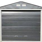 Duramax-55231-Metal-Garage-12-x-32-Metal-Storage-Shed-Off-White-with-Brown-Trim-0-1