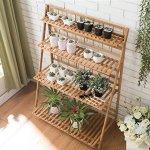 Floor-solid-wood-multi-layer-bamboo-flowers-folding-shelf-0