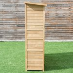 Goplus-Outdoor-Storage-Shed-Tilt-Roof-Wooden-Lockable-Storage-Unit-Fir-Wood-Cabinet-for-Garden-with-Two-Doors-0-2