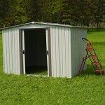 Kinbor-New-8-x-6-Outdoor-White-Steel-Garden-Storage-Utility-Tool-Shed-Backyard-Lawn-Building-Garage-wSliding-Door-0-2