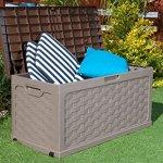 Plastic-Garden-Storage-Box-with-Sit-on-Lid-Cushion-Box-Outdoor-Storage-Wicker-Deck-Box-Rattan-Design-Color-Brown-0