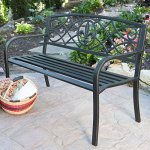 Traditional-Curved-Back-Metal-Garden-Bench-Ultra-Sturdy-Powder-Coated-Tubular-Steel-Blackened-Metal-with-a-Weathered-Antique-Bronze-Finish-Comfortable-Slatted-Seat-for-All-Weather-Use-0