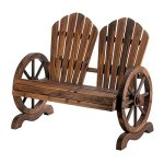 Wooden-Country-Style-Wagon-Two-Seater-with-Wagon-Wheel-Armrests-Outdoor-Bench-0-0