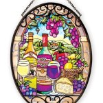 Amia-41085-Hand-Painted-Glass-5-12-by-7-Inch-Oval-Sun-Catcher-Wine-Country-Design-Medium-0