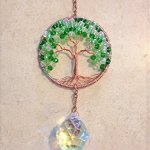 Crystal-Sun-Catcher-Tree-of-Life-Window-Ornament-with-30mm-Crystal-Ball-Prism-Handmade-Window-Ornament-Feng-Shui-Healing-Crystal-Gemstone-Wire-Tree-SuncatcherGreen-Crystals-0