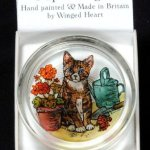 Decorative-Hand-Painted-Stained-Glass-Paperweight-in-a-Kitten-and-Geraniums-Design-0-0