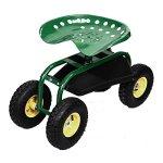 Green-Rolling-Garden-Cart-Work-Seat-Tool-Tray-Planting-Gardening-Heavy-Duty-113-0-0