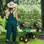 Green-Rolling-Garden-Cart-Work-Seat-W-Heavy-Duty-Tool-Tray-Gardening-Planting-0-0