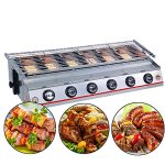 ITOPKITCHEN-6-Burner-LPG-Gas-BBQ-Grill-Stainless-Steel-Material-Adjustable-Height-GlassSteel-Cover-YellowSilver-Color-0-0