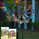 Solar-LED-Metal-Flower-Garden-Wind-Spinner-245-dia-x-115-D-x-75-H-0