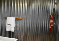 Corrugated steel roofing for the bathroom