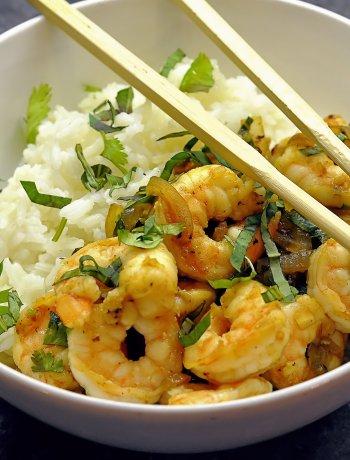 Shrimp with Basil Thai Style via farmgirlgourmet.com