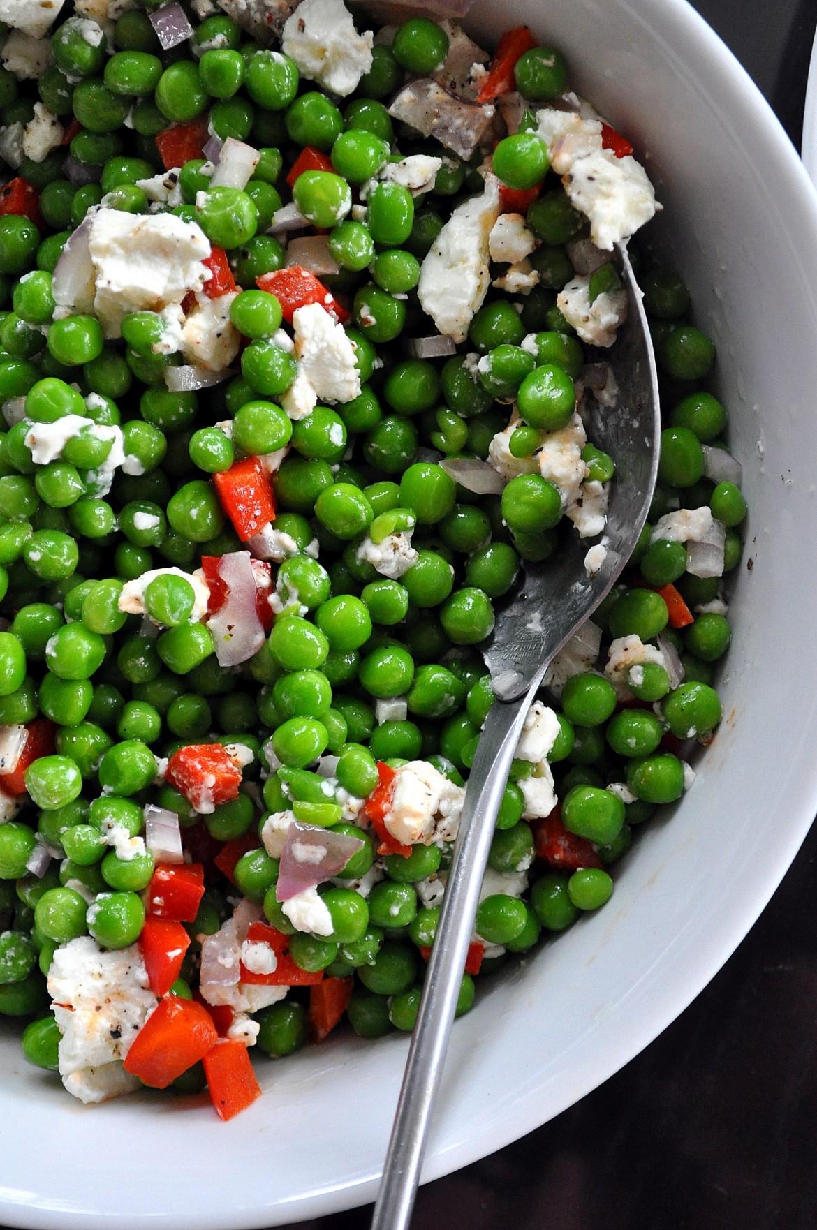 Spring Pea, Pepper & Goat Cheese Salad via farmgirlgourmet.com