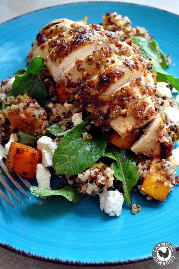Mustard Crusted Chicken and Quinoa Roasted Pumpkin Salad