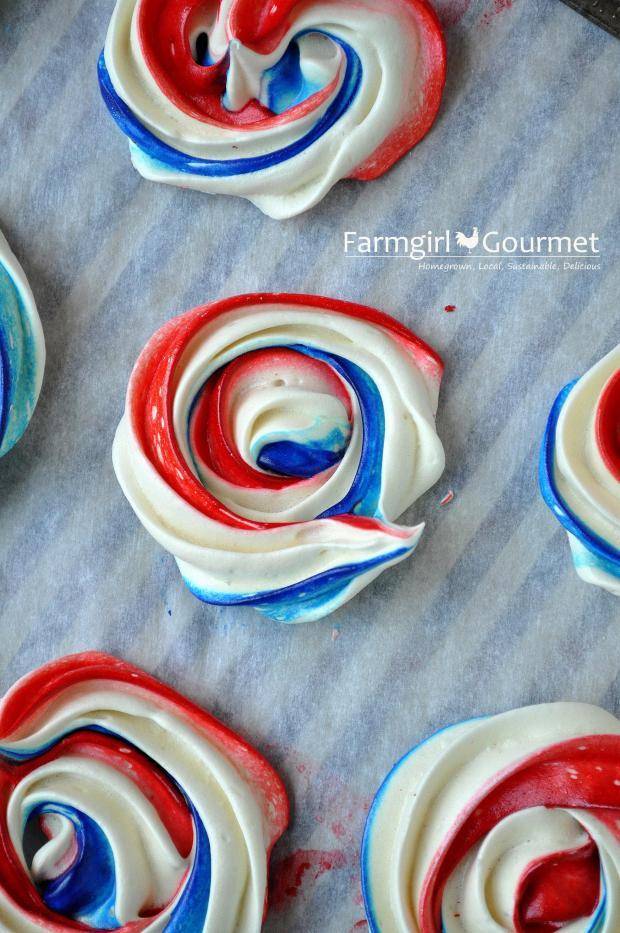 Red, White & Blue Meringues | farmgirlgourmet.com