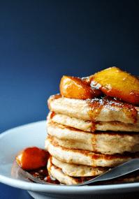 Whole Wheat-Applesauce Pancakes with Fresh Peach Compote | farmgirlgourmet.com