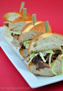 Spicy Beer Braised Oxtail Sliders with Broccoli Slaw