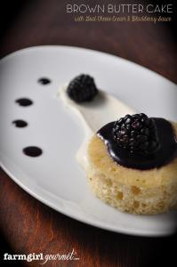 Brown Butter Cake with Goat Cheese Cream & Blackberry Sauce – #TopChef