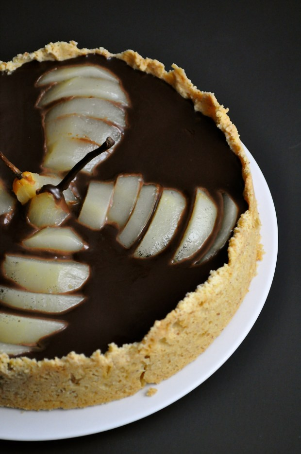 Dark Chocolate Pear & Walnut Tart