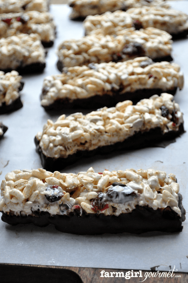 Chewy Puffed Brown Rice Bars | farmgirlgourmet.com #recipe