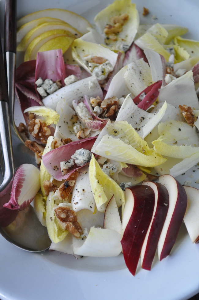 Endive Salad with Stilton, Pear & Walnuts | farmgirlgourmet.com