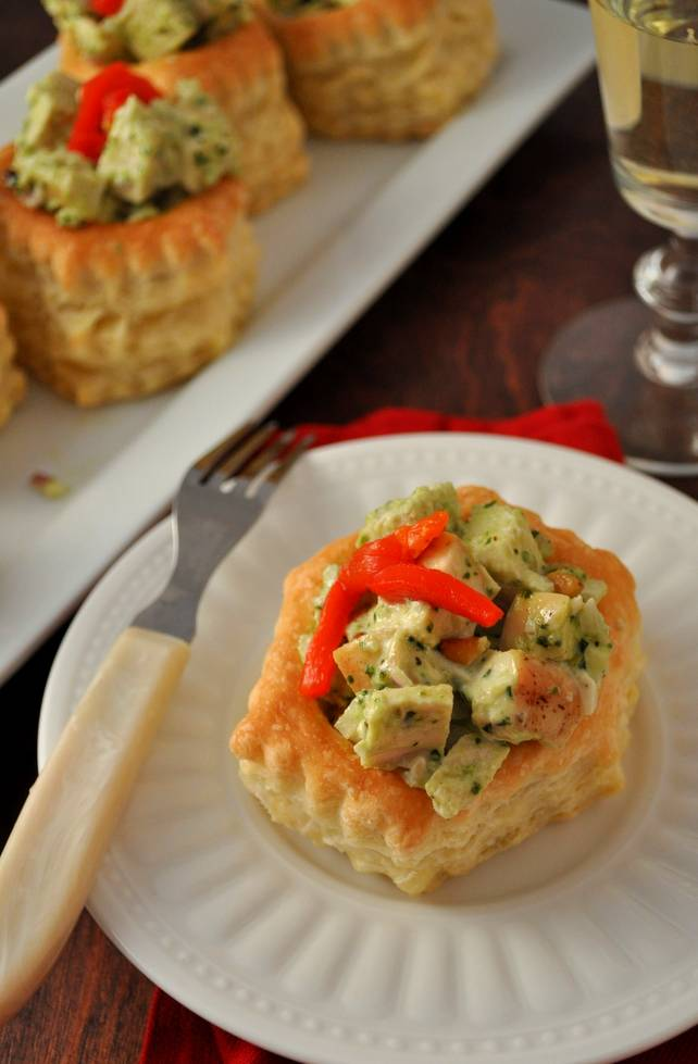 Puff Pasty Pesto Chicken | farmgirlgourmet.com #appetizers #holidayrecipes