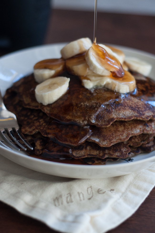 Buckwheat Hoe Cakes with Fresh Banana | farmgirlgourmet.com #breakfast #mymilkchoice