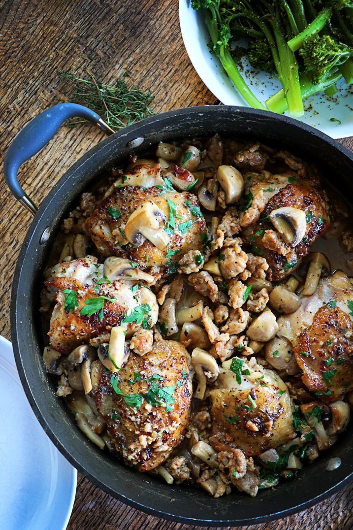 Chicken Thighs with Coconut, Sausage & Mushrooms | farmgirlgourmet.com