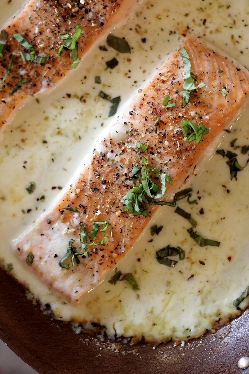 Baked Salmon in Parmesan Cream | farmgirlgourmet.com