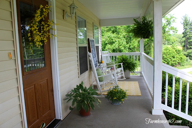 summer front porch ferns and plants