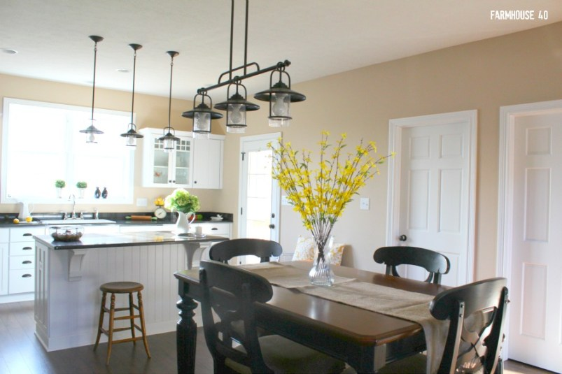 farmhouse kitchen and dining room area