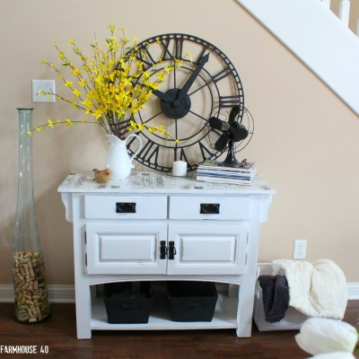 Buffet Makeover Chalked Paint & Postal Paper