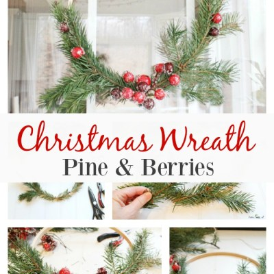 Christmas Wreath With Pine And Berries