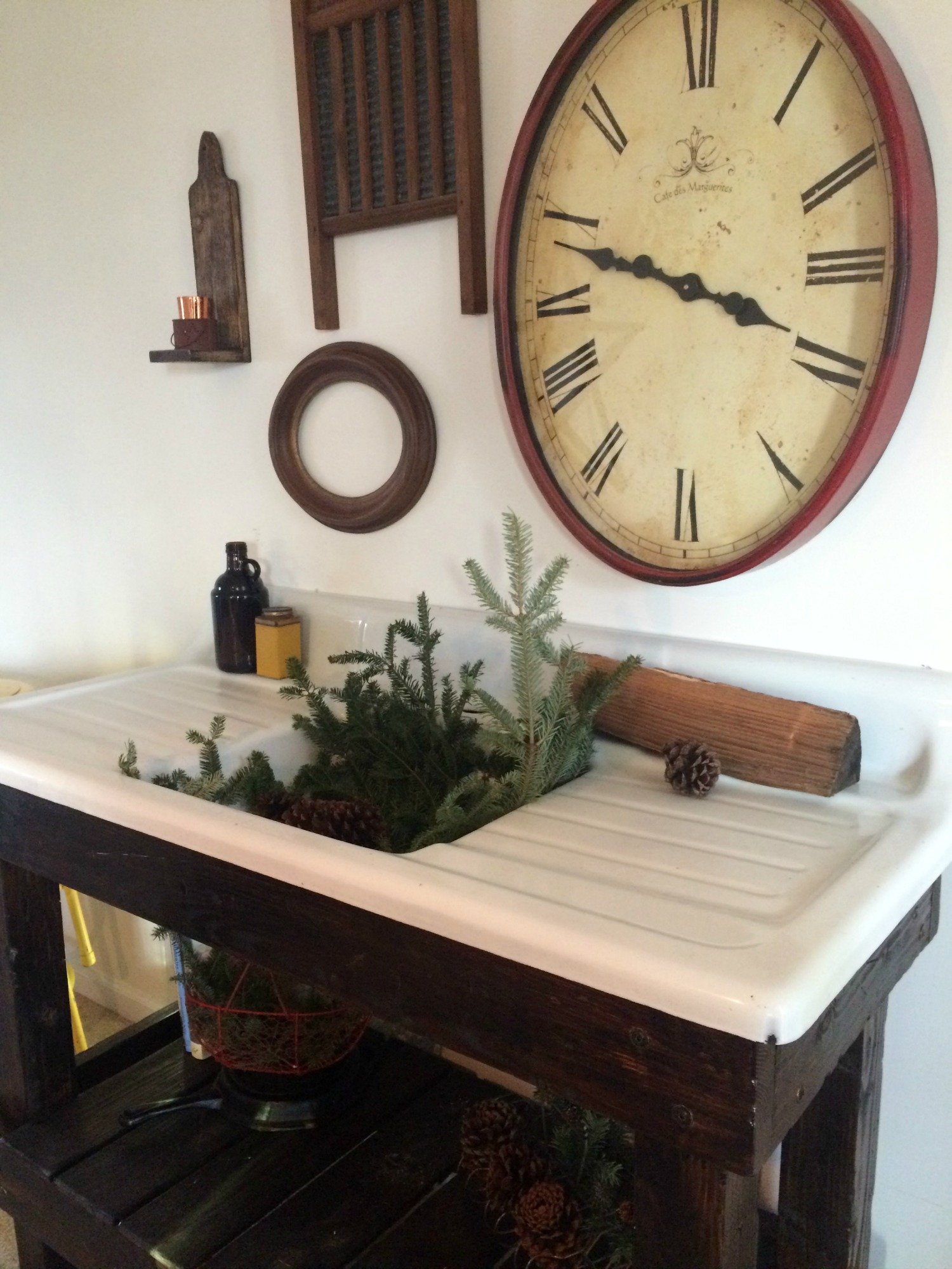 amish made kitchen cabinets sink covers our salvaged antique cast iron project - farmhouse